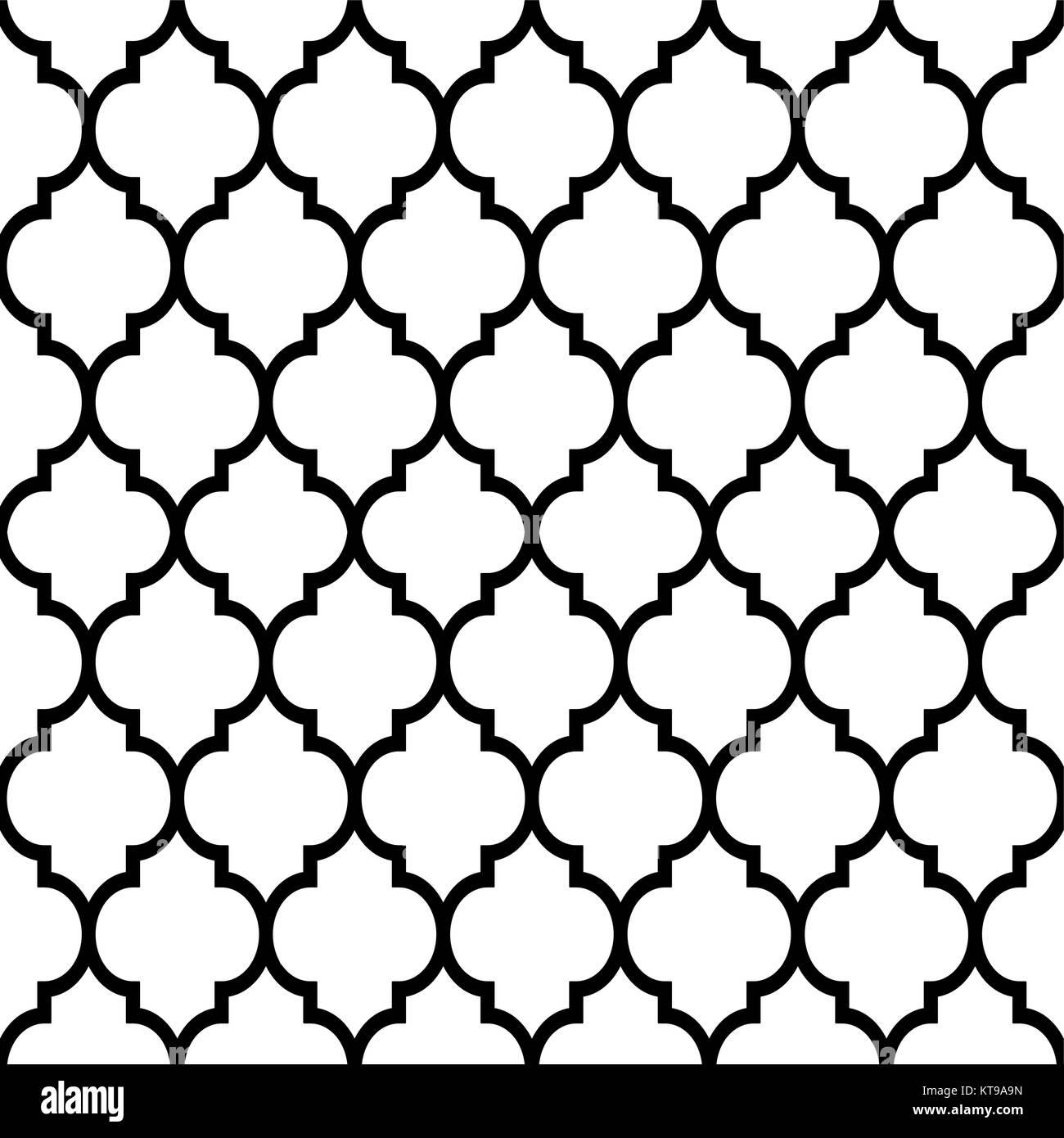 Marokkanische Fliesen Design, Nahtlose Schwarze Muster, Geometrischen  Hintergrund