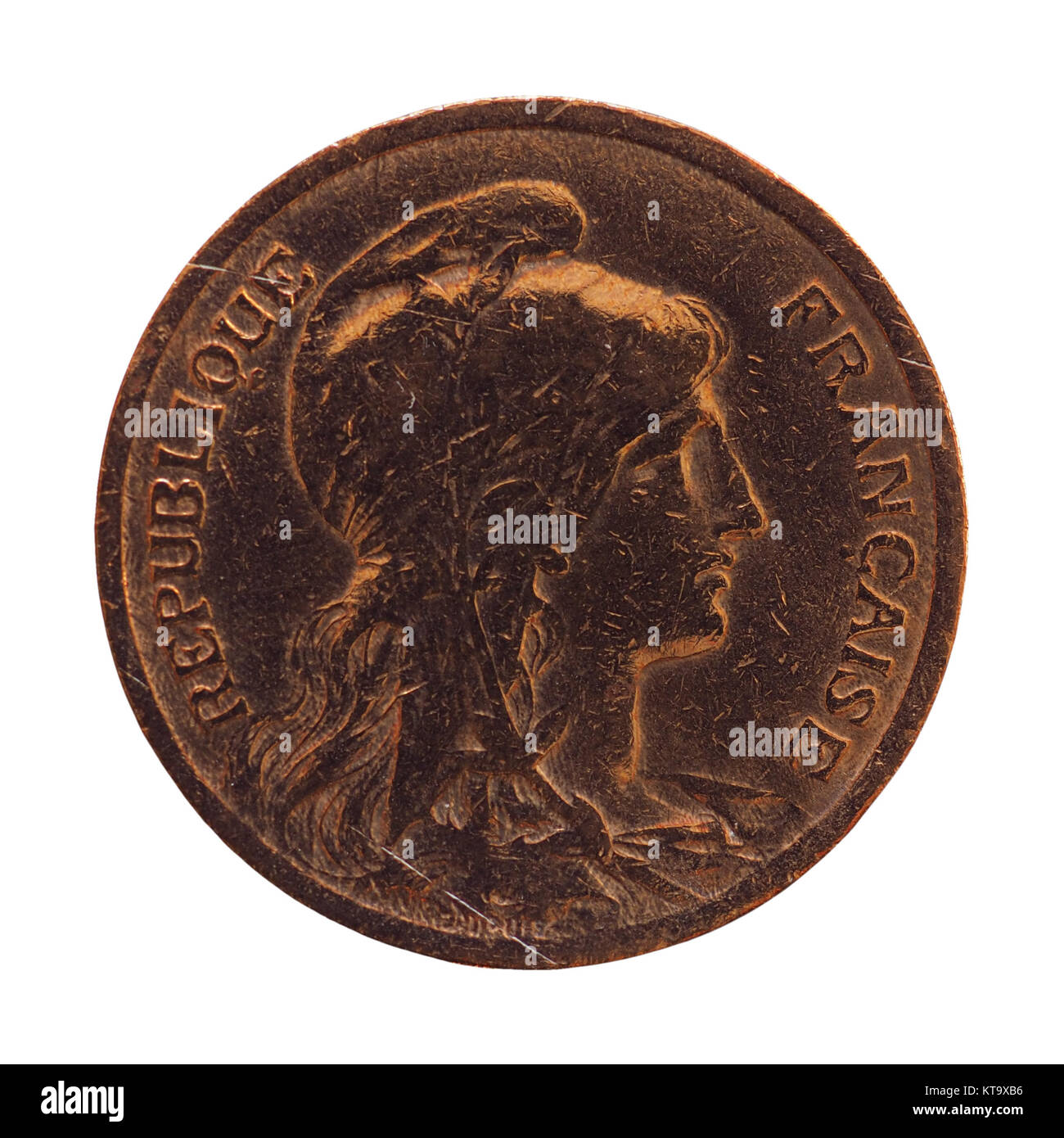 Alte Französische Münze 10 Cent über Weiß Isoliert Stockfoto Bild