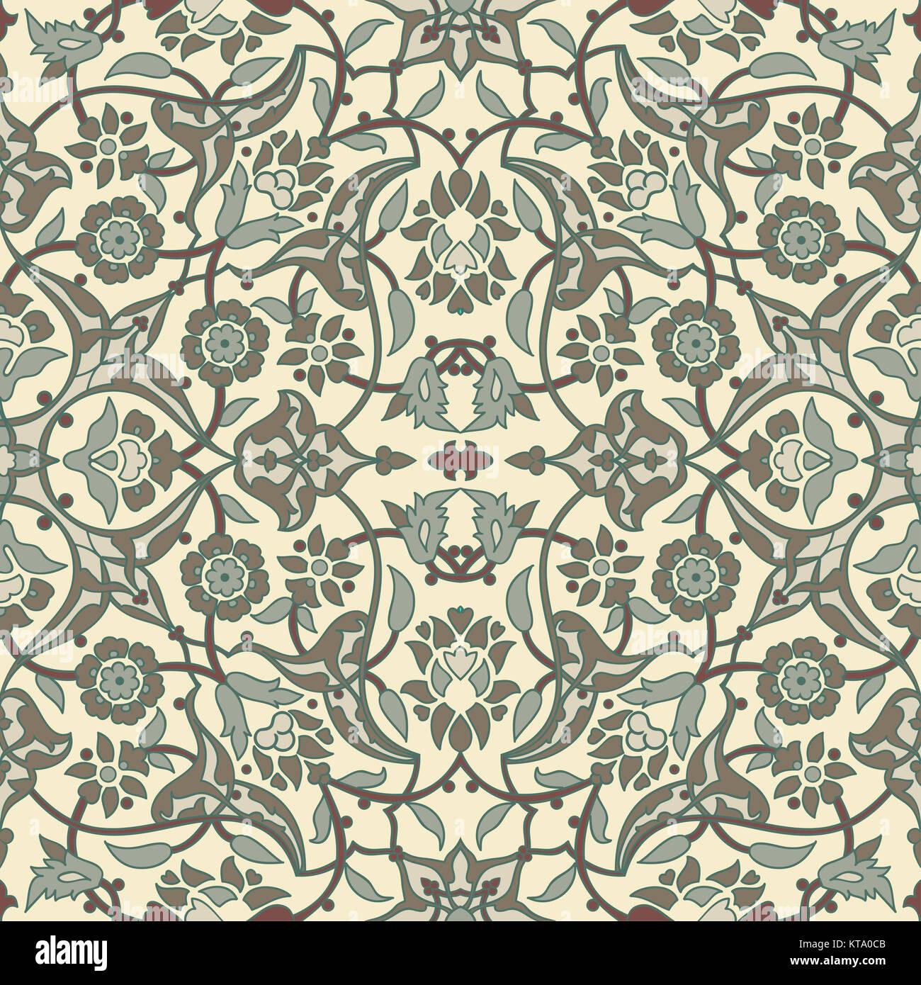 Stilisierten blumen orientalische tapete retro nahtlose for Tapete orientalisch turkis