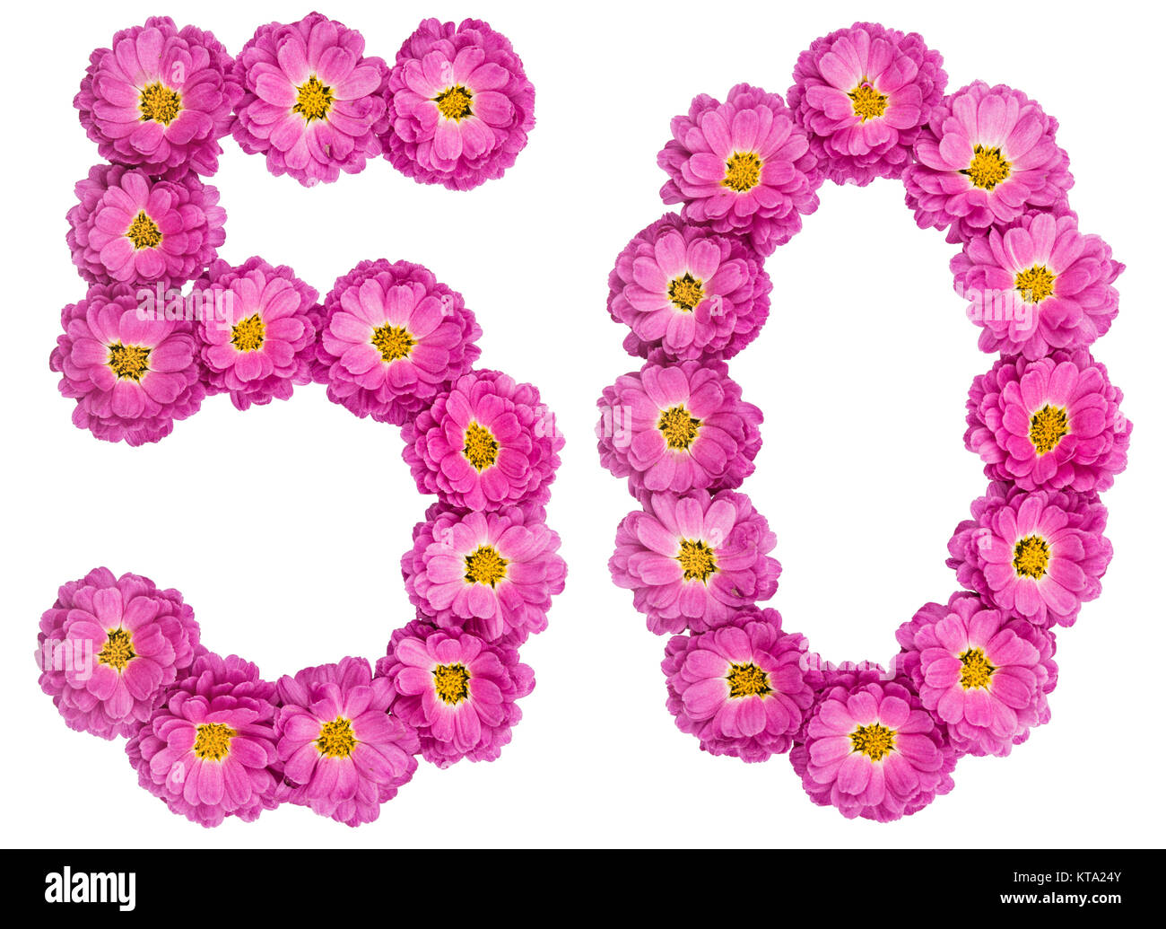 arabische zahlen 50 50 von blumen der chrysantheme auf wei em hintergrund stockfoto bild. Black Bedroom Furniture Sets. Home Design Ideas