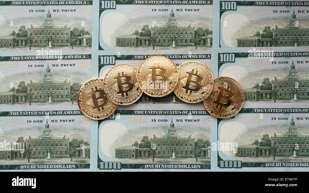 Münzen Bitcoin Es Gibt Geld Auf Hinweis Von 100 Dollar Die