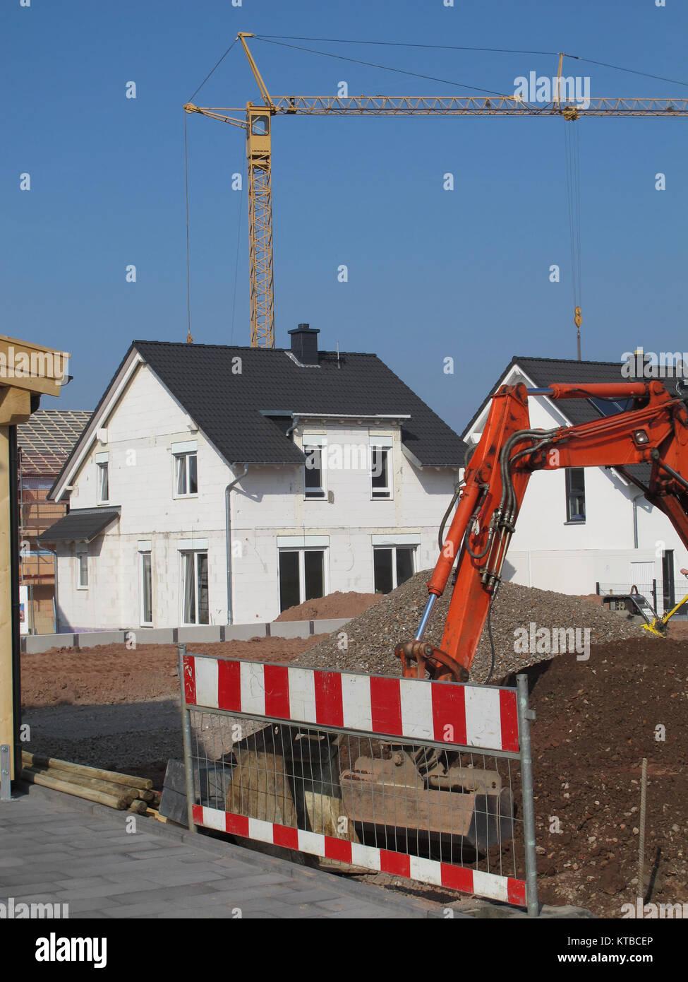 Baustelle, Rohbau, Hausbau, Bau, Bauen, Bauindustrie, Baugewerbe, Haus,  Firma Bisser, Gerüst, Baugerüst, Hochbau, Bauen, Bagger