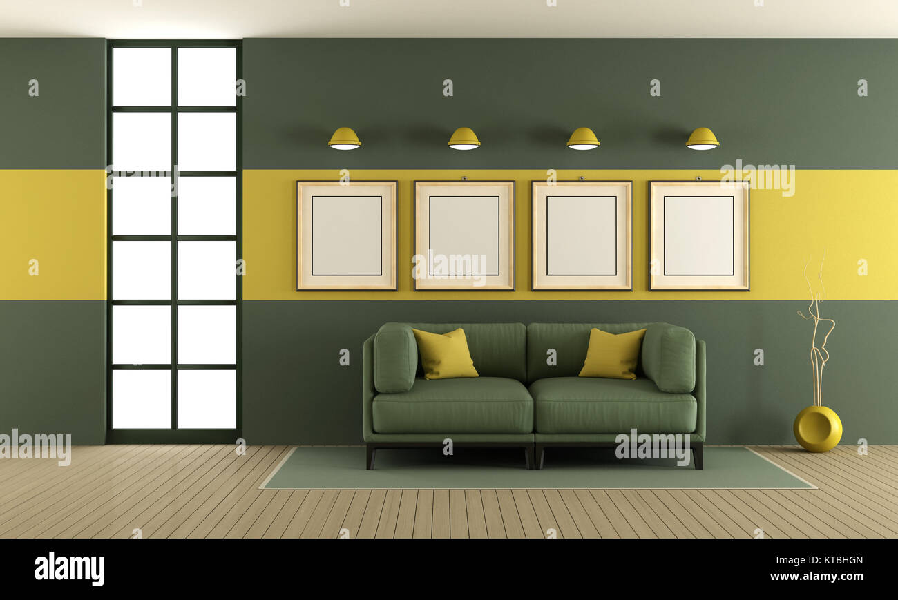 contemporary lounge gray sofa wall stockfotos