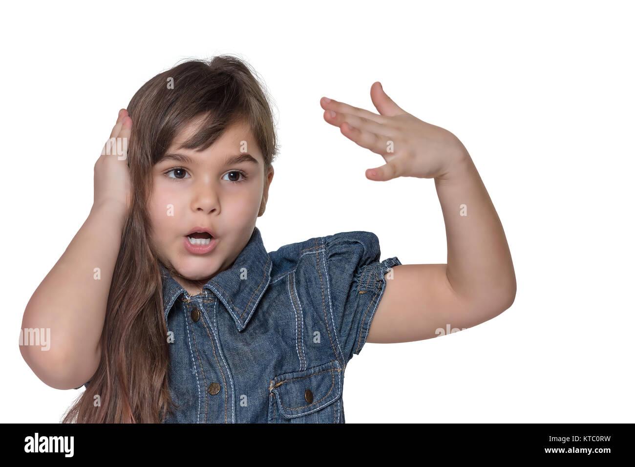 Portrait von emotional gestikulierend wenig Mädchen isoliert Stockbild
