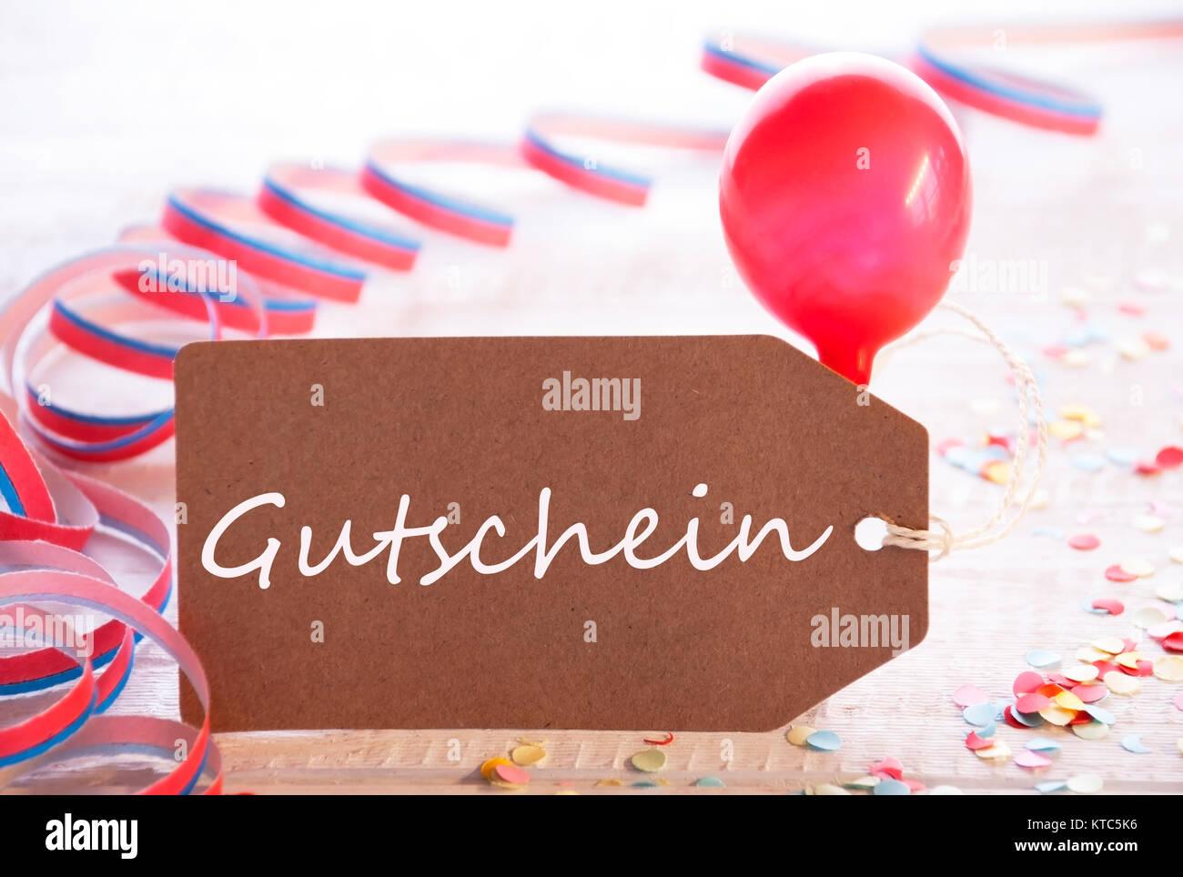 Ein Etikett Mit Deutschem Text Gutschein Gutschein Bedeutet Party
