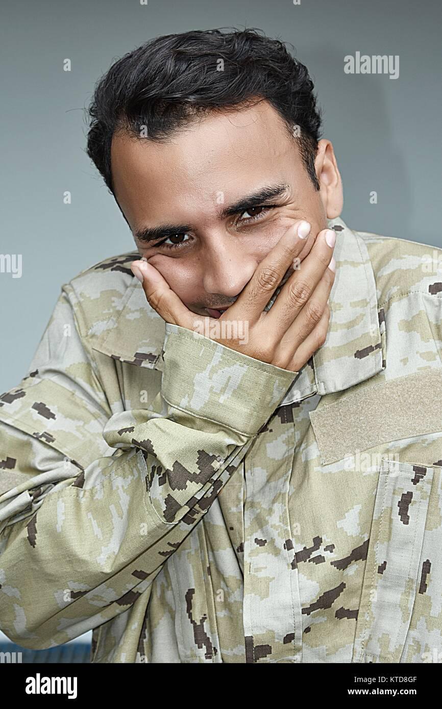 Beschämt männlichen Soldaten Stockbild