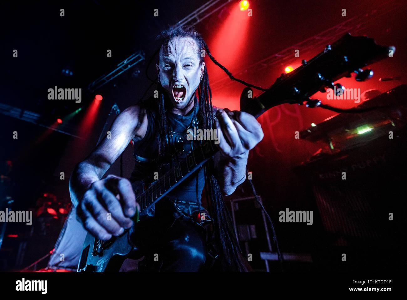 Der kanadischen Musik Gruppe Skinny Puppy führt ein Live Konzert in den Amager Bio in Kopenhagen. Hier Gitarrist Stockbild