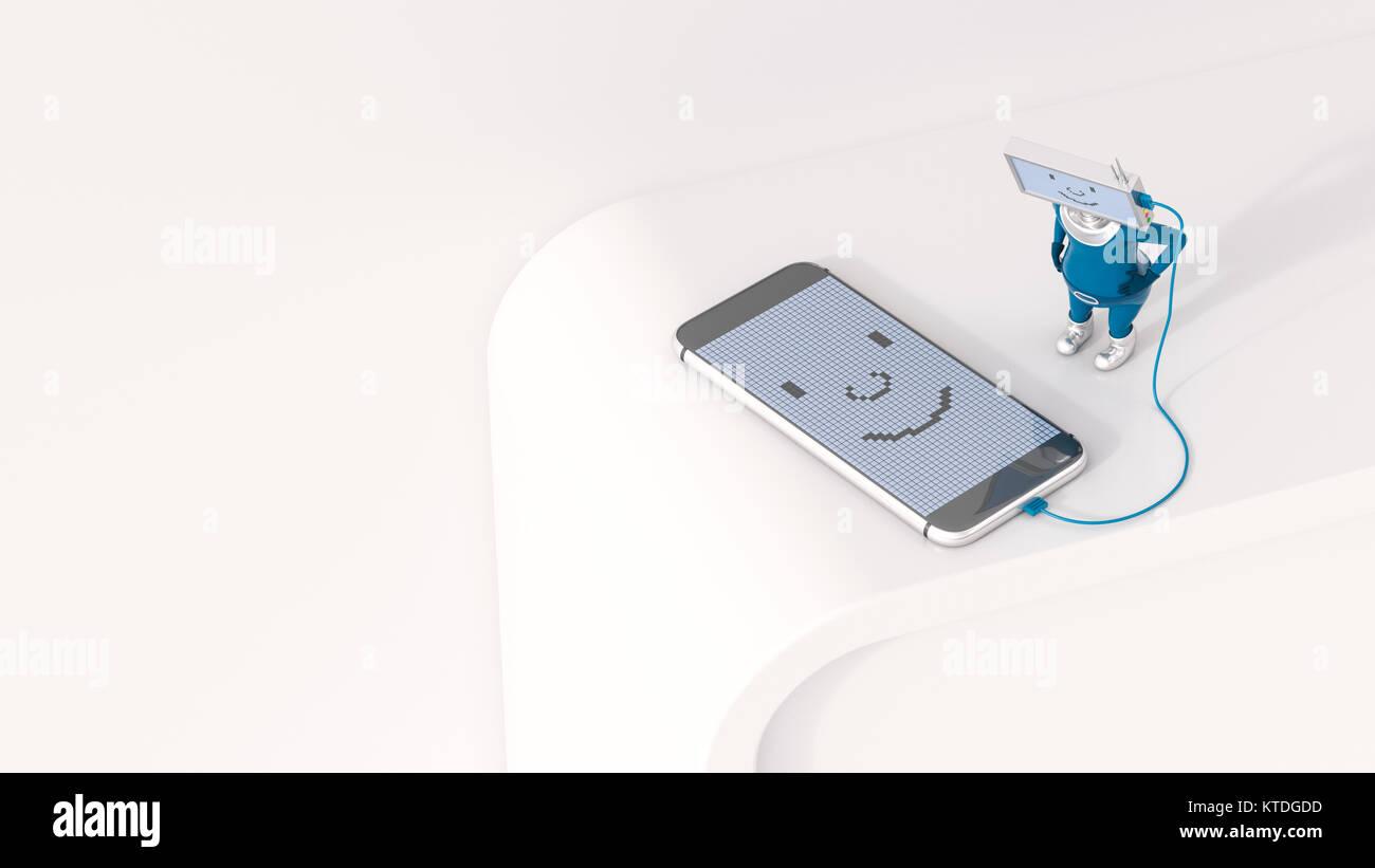3D-Illustration, Figurine laden Smartphone Stockbild