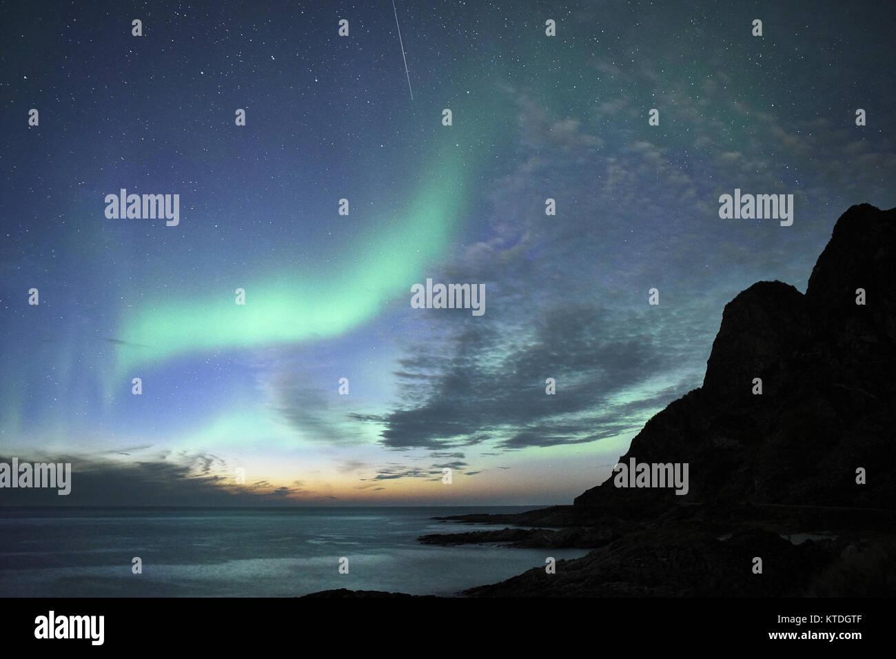 Aurora Borealis, Northern Lights von Noss, Andoya, Andoy, Nordland, Norwegen Stockbild