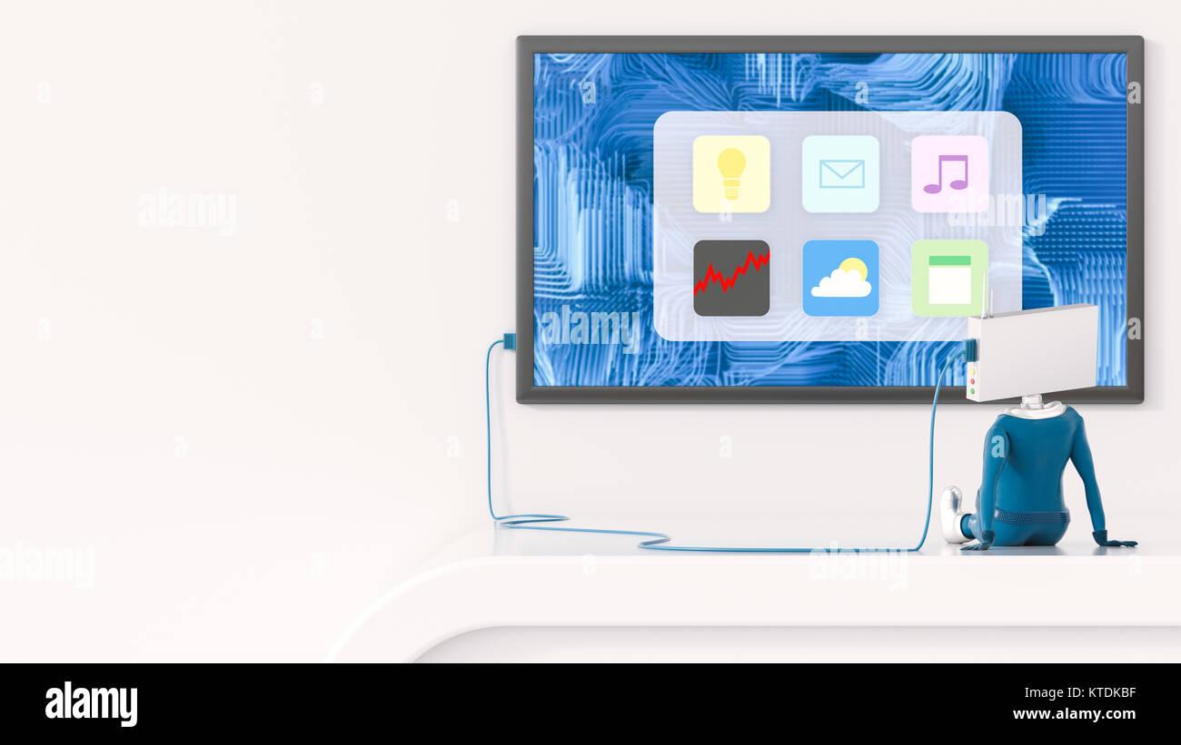 3D-Illustration, Figürchen auf Apps Stockbild
