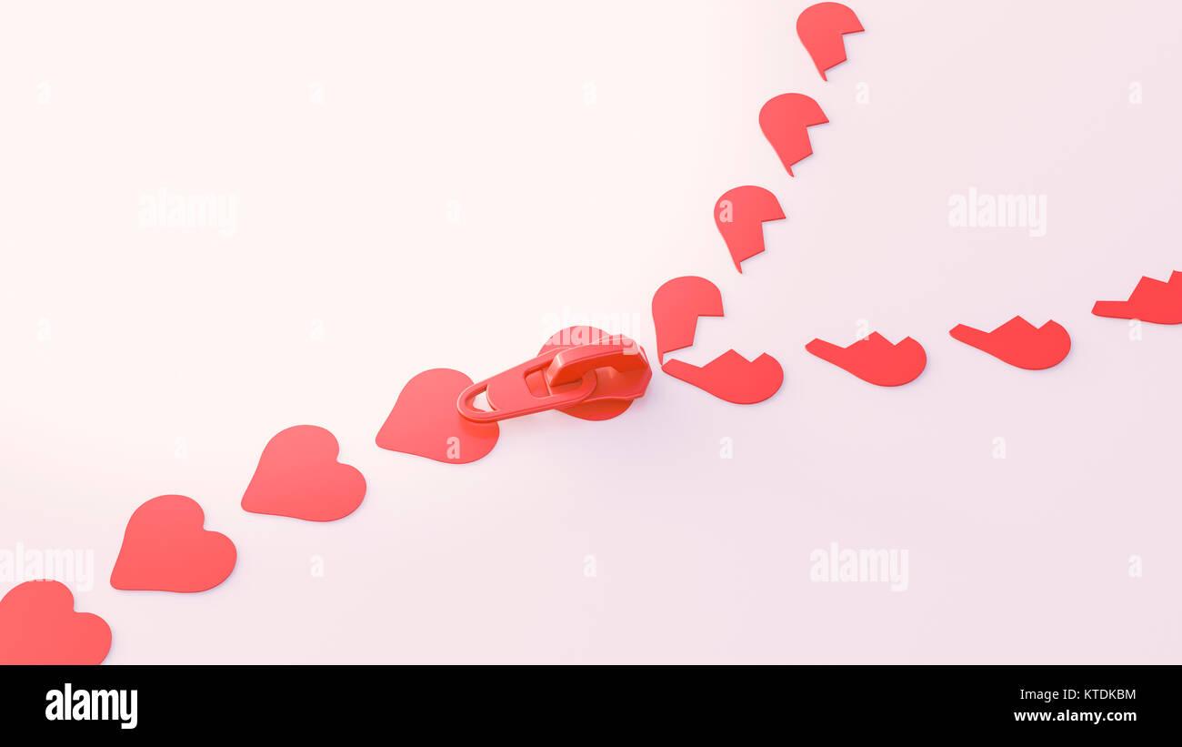 3D-Illustration, Zipper, Herzform Symbole Stockbild