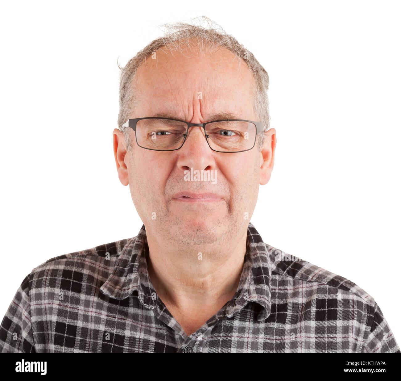 Mann gerade gesehen etwas emotional gestört Stockbild
