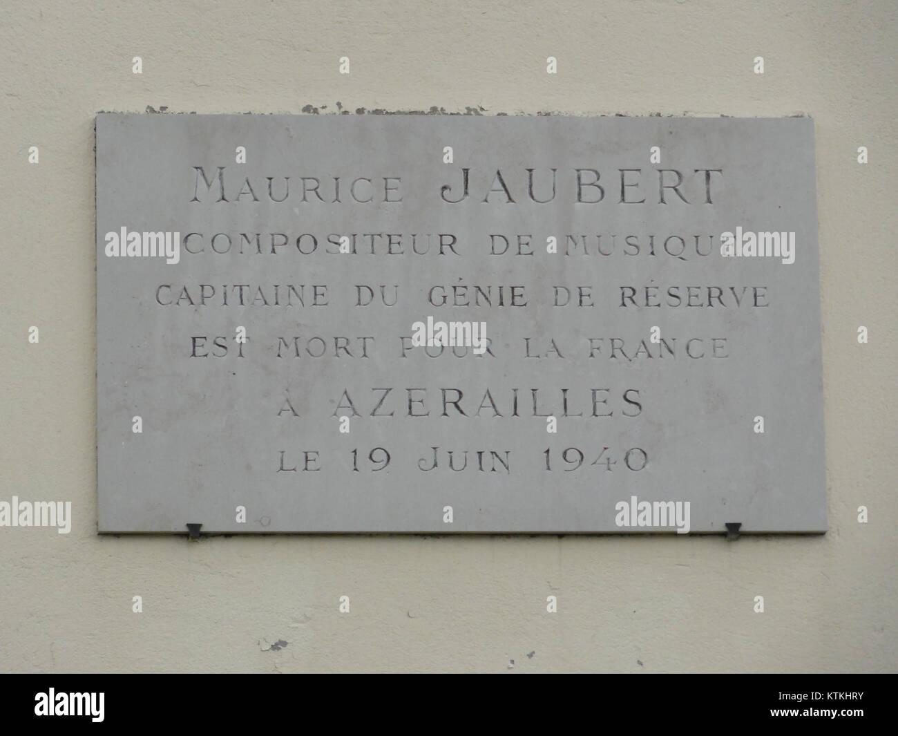 Pettonville (M et M) Plakette Maurice Jaubert, Mort pour la France Stockbild