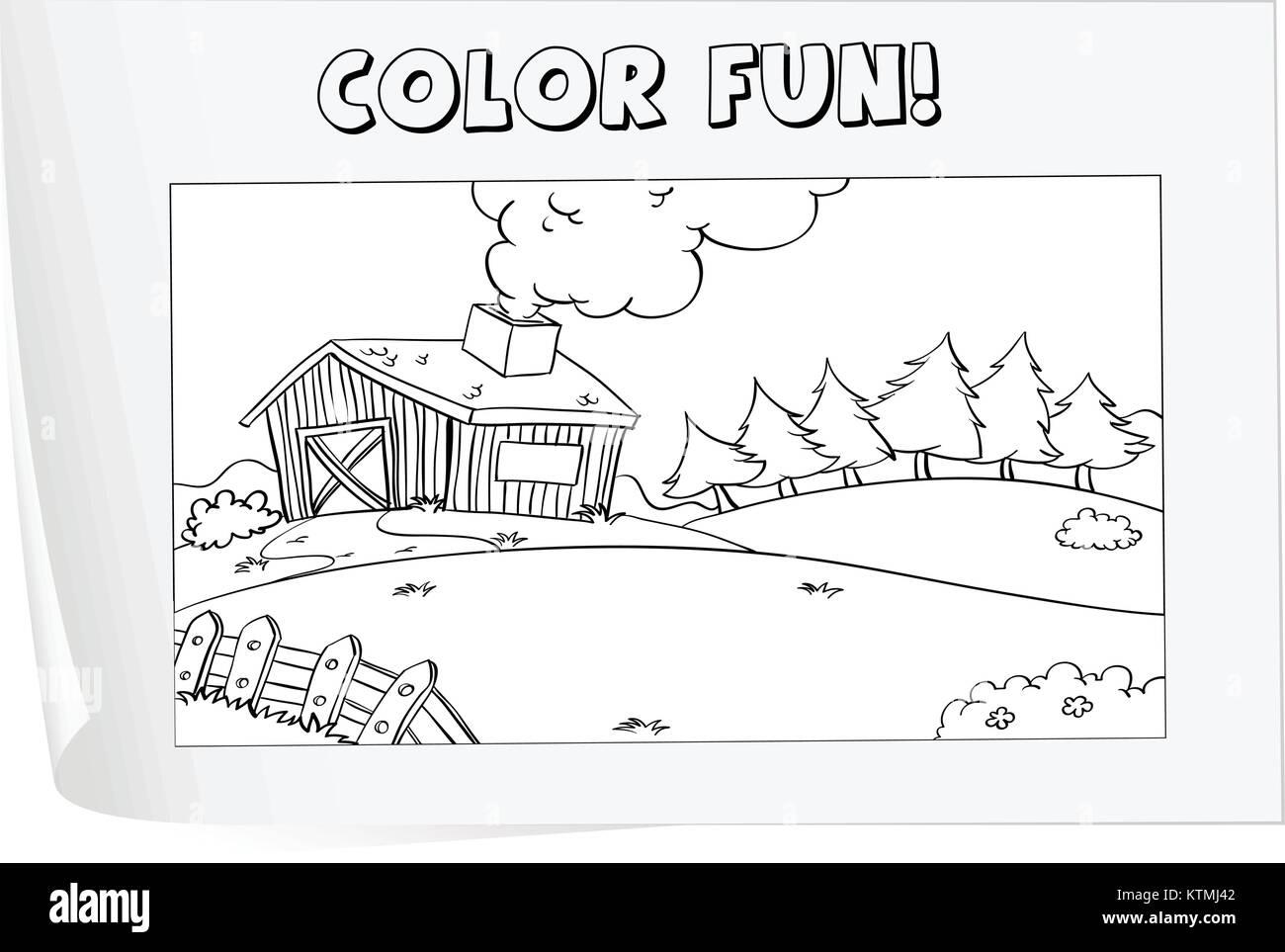 Abbildung einer Färbung Arbeitsblatt (Bauernhof Vektor Abbildung ...