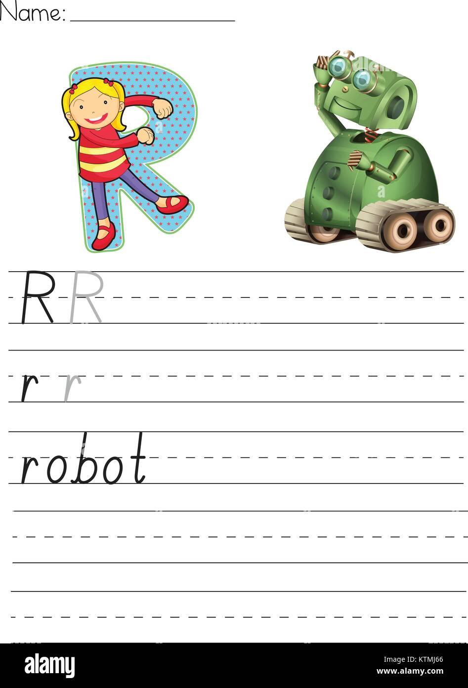 Alphabet Arbeitsblatt der Buchstabe R Vektor Abbildung - Bild ...