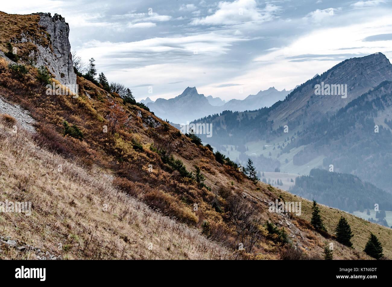 Berge in der Ostschweiz in der Nähe von Appenzell. Stockbild