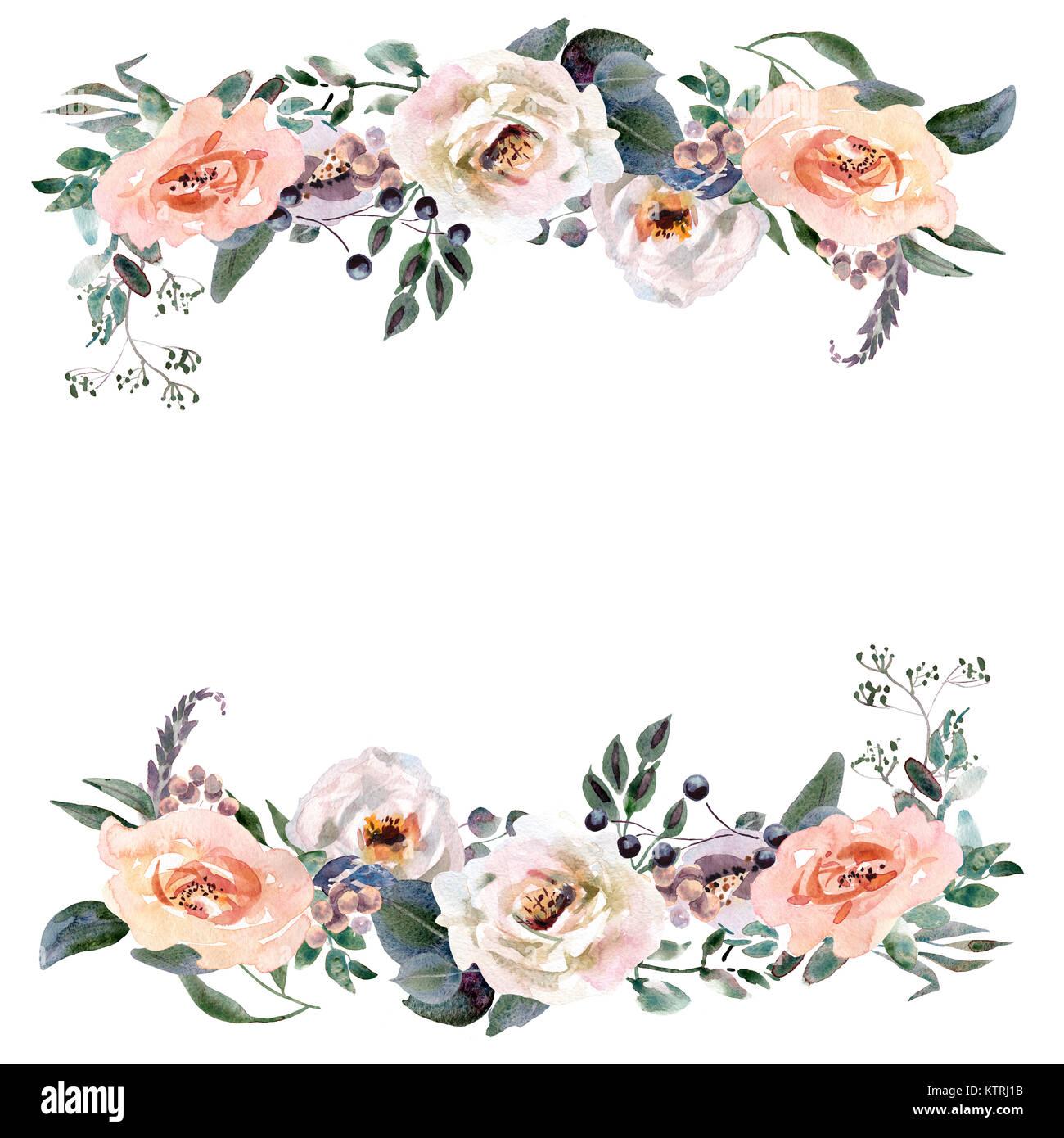 Hand zeichnen aquarell hochzeit frame kranz gr n und lila for Lila und grun mischen