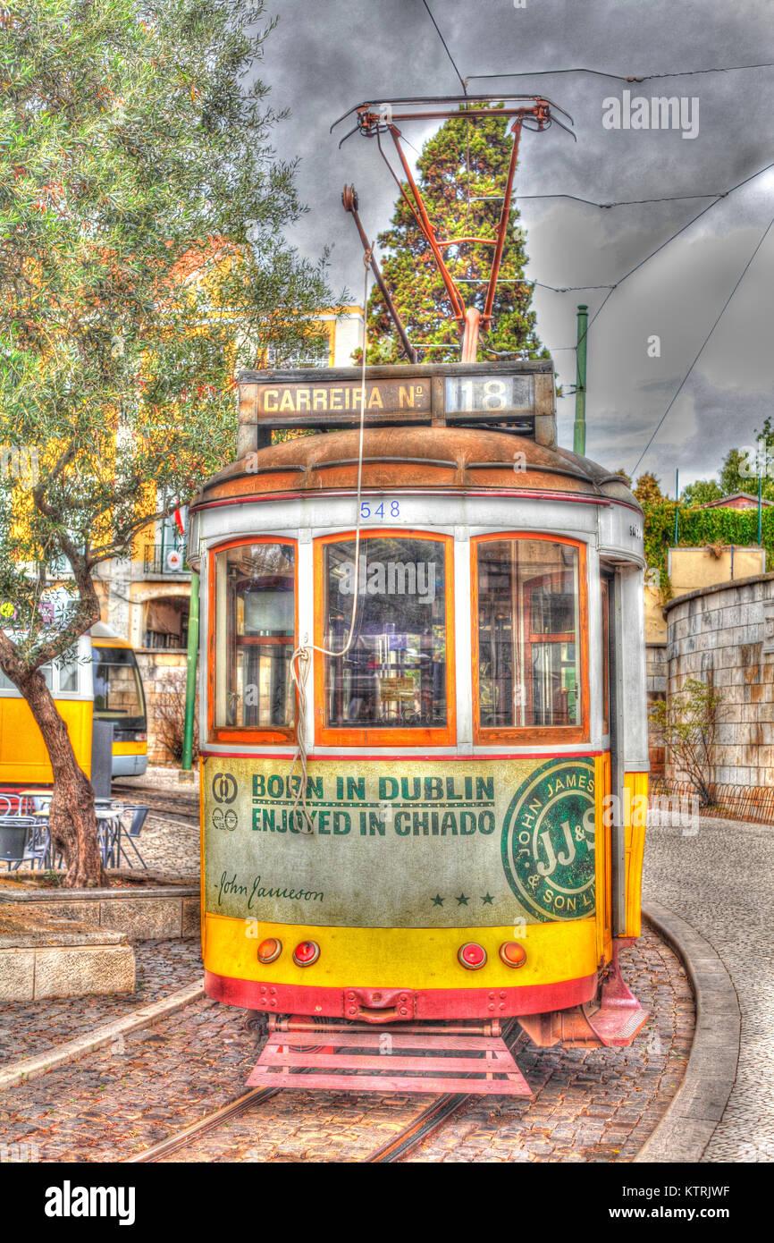 Historische alte Straßenbahn in Belem, Lissabon, Portugal ich alte Straßenbahnwagen in Belem, Lissabon, Stockbild