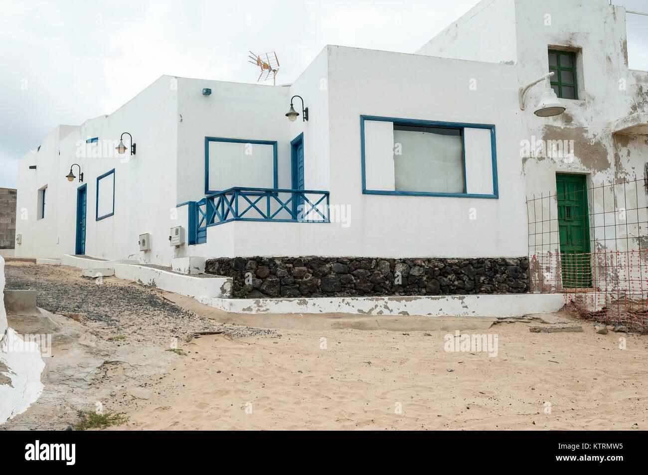 Straße in Caleta de Sebo, La Graciosa, Chinijo Archipel, Kanarische Inseln, Spanien Stockbild
