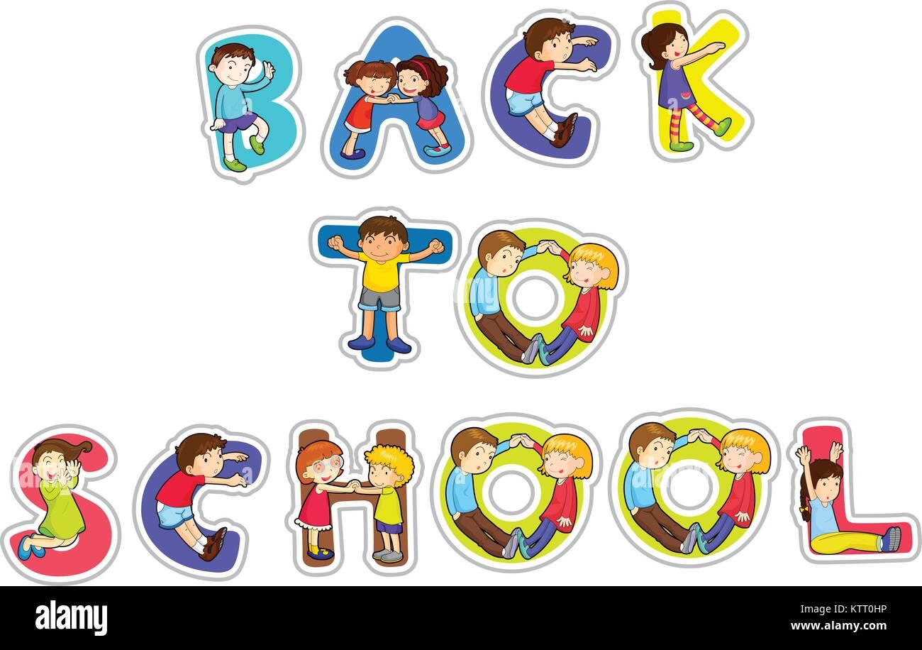 Abbildung: englische Wort zurück zu Schule auf weißem Hintergrund ...