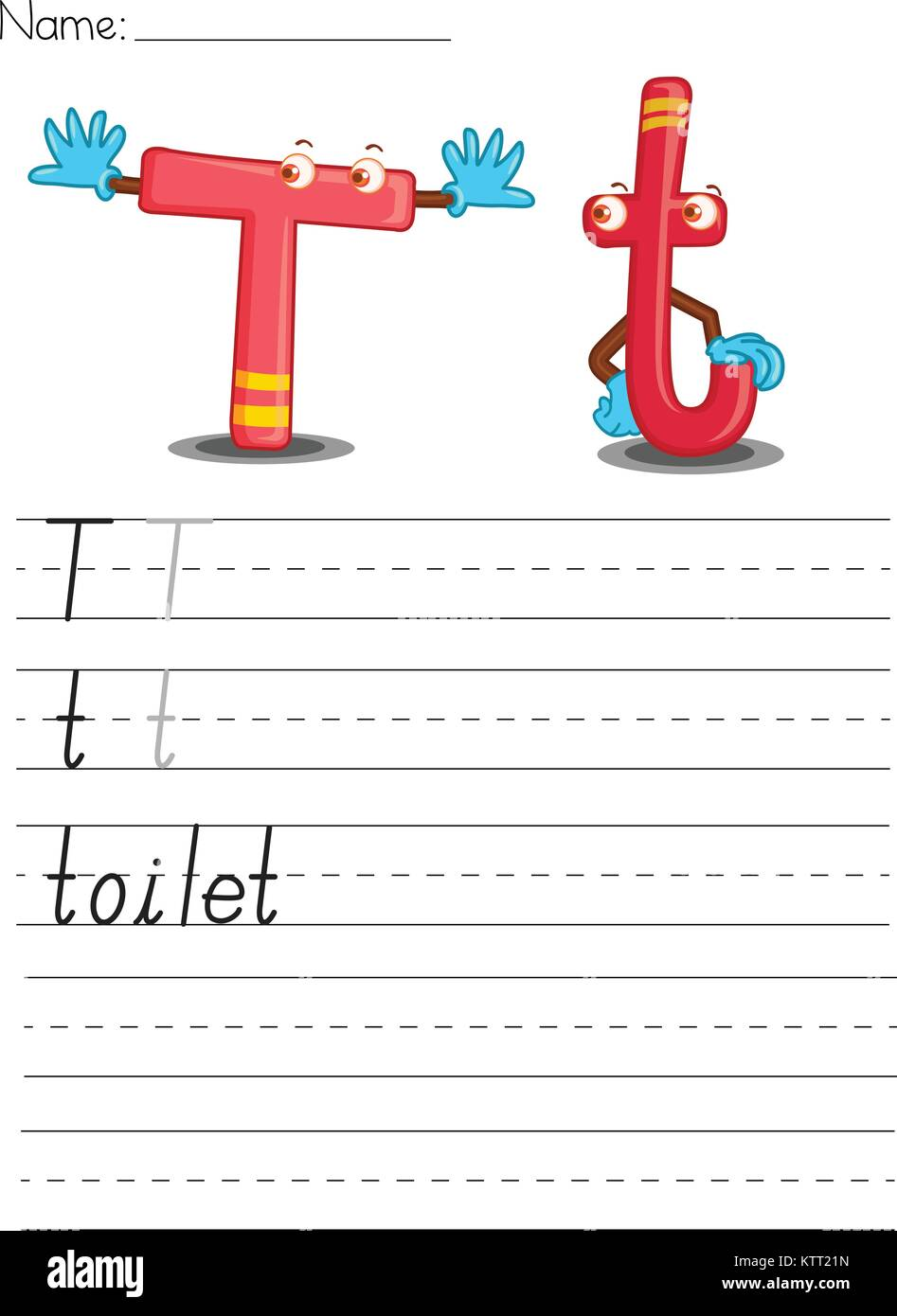 Illustrierte alphabet Arbeitsblatt der Buchstabe t Vektor Abbildung ...
