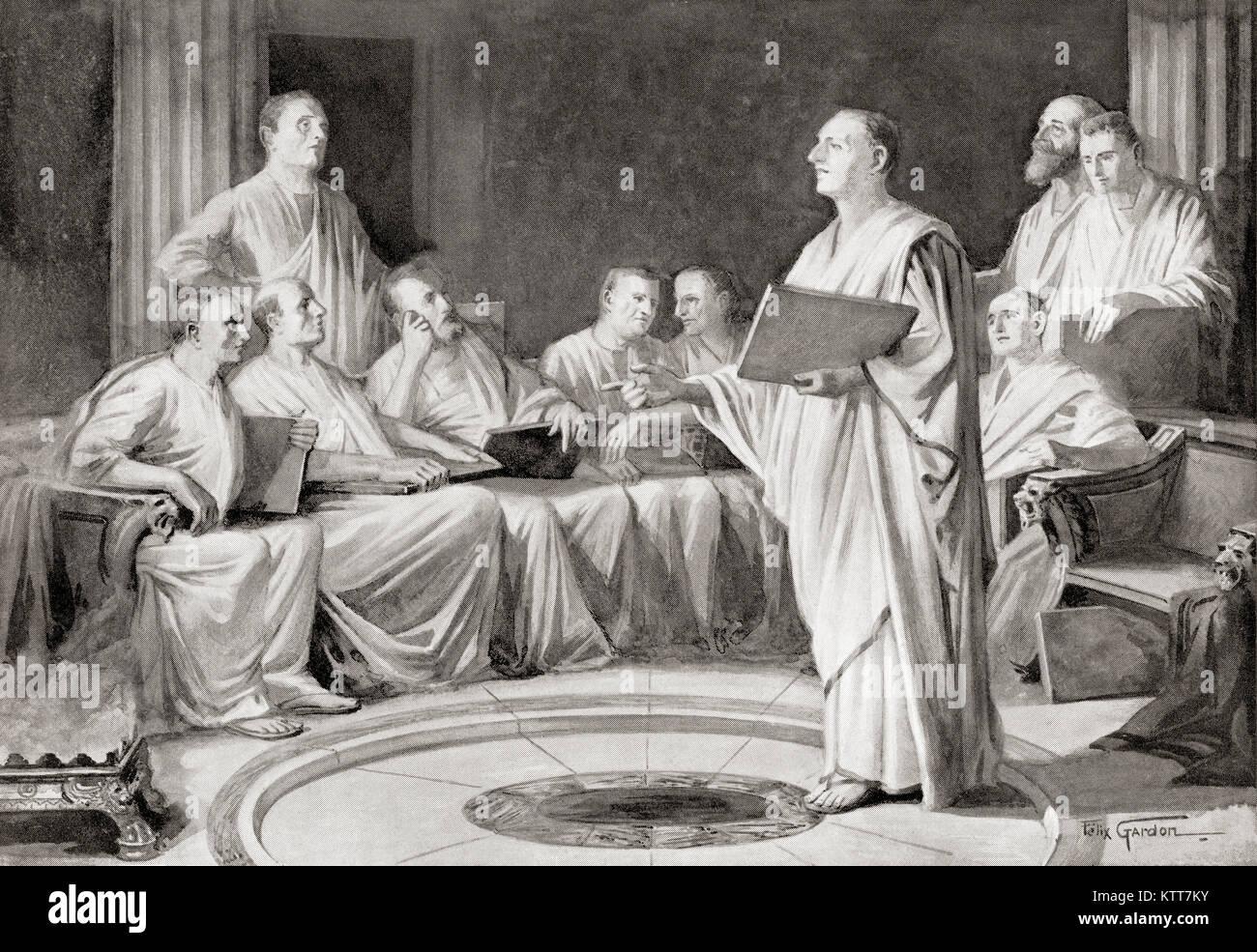 Die Decemvirs framing die Zwölf Tabellen. Das Gesetz der Zwölf Tabellen wurde die Gesetzgebung, war die Stockbild