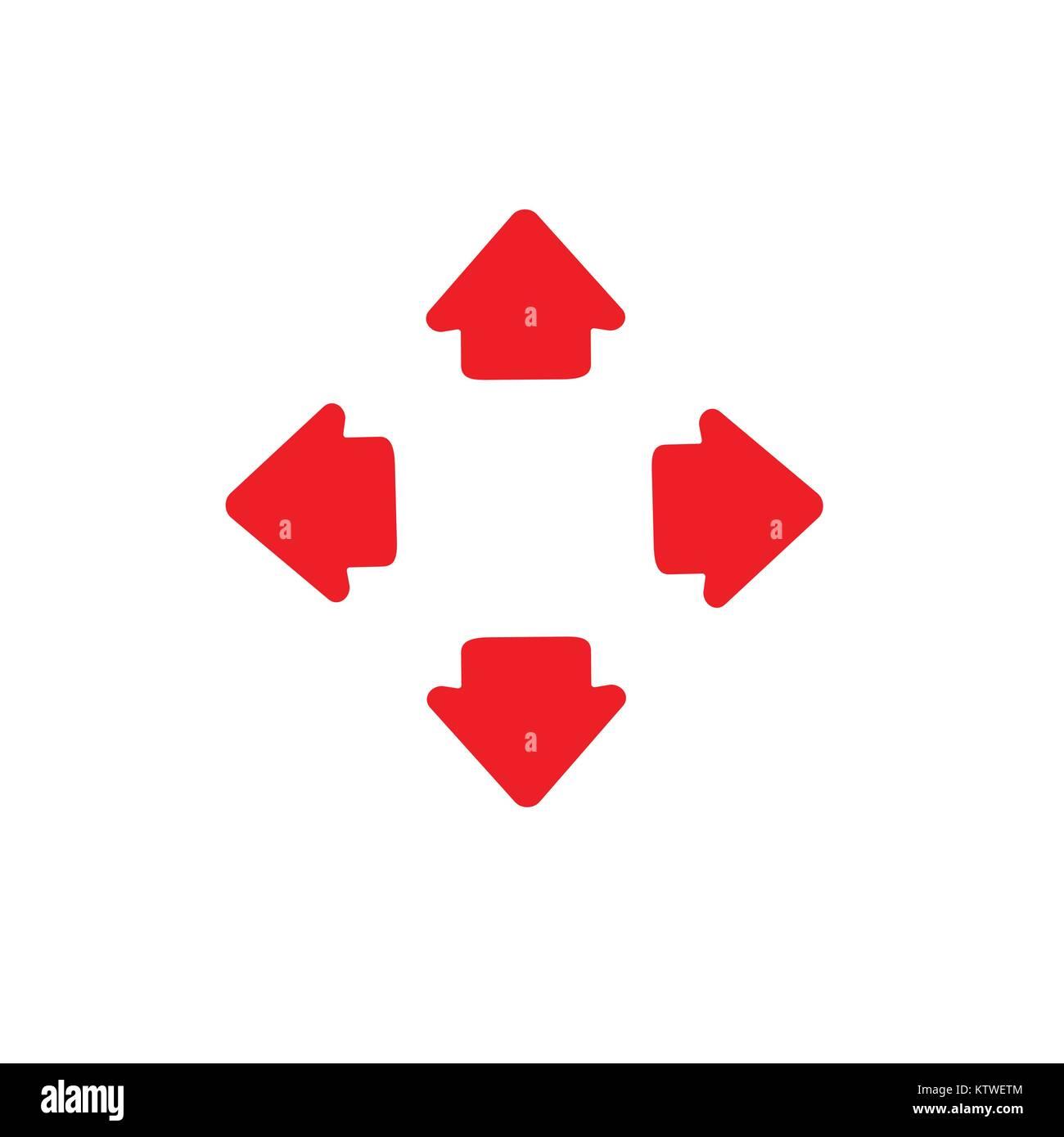 Vier Wege, Pfeile nach links und rechts Richtung gegenüber. Vector Illustration. Stock Vektor
