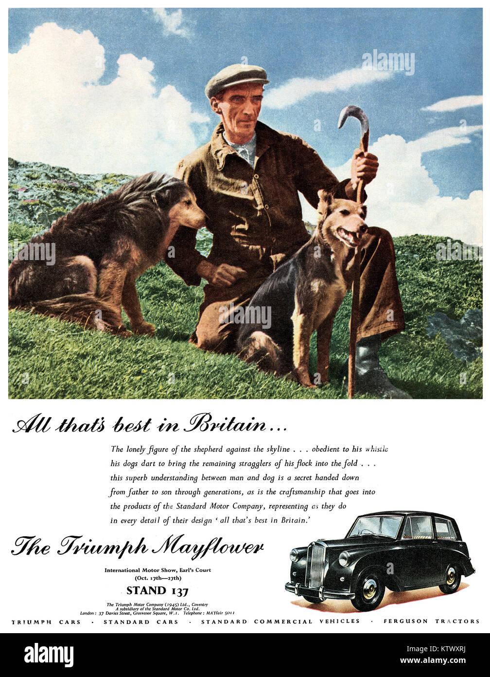 1951 britischen Werbung für den Triumph Mayflower Motor Car. Stockbild