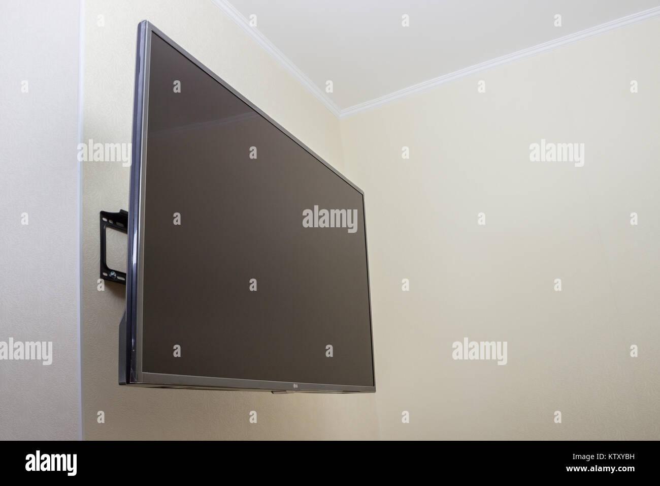 Fernseher Hintergrund schwarze led-tv fernseher mock mock up, leer in weißen wand