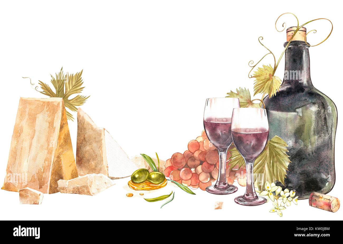 flaschen und gl ser wein und bl tter von trauben isoliert auf weiss parmesan k se und oliven. Black Bedroom Furniture Sets. Home Design Ideas
