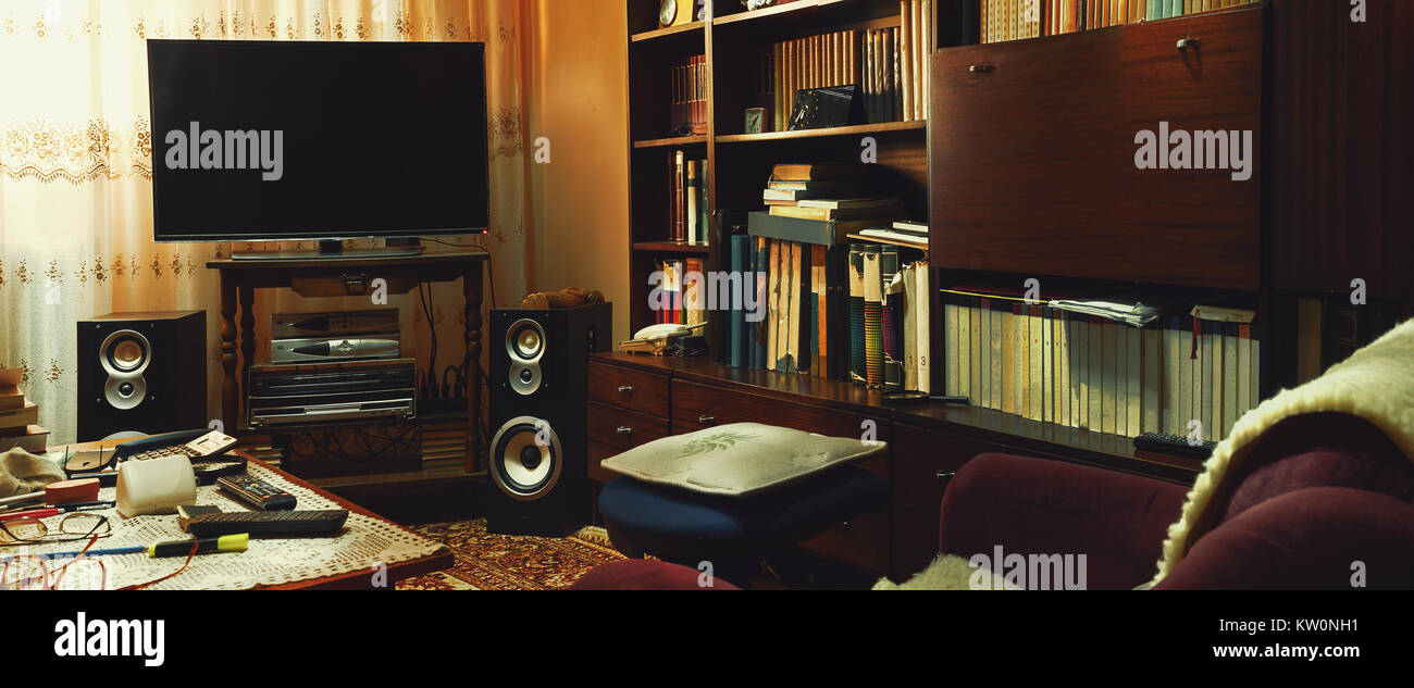 Retro Lifestyle, Wohnzimmer details, viele moderne und alte Sachen ...