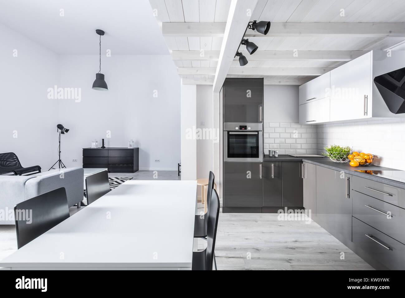 Modern eingerichtetes Apartment mit offener Küche und Wohnzimmer ...