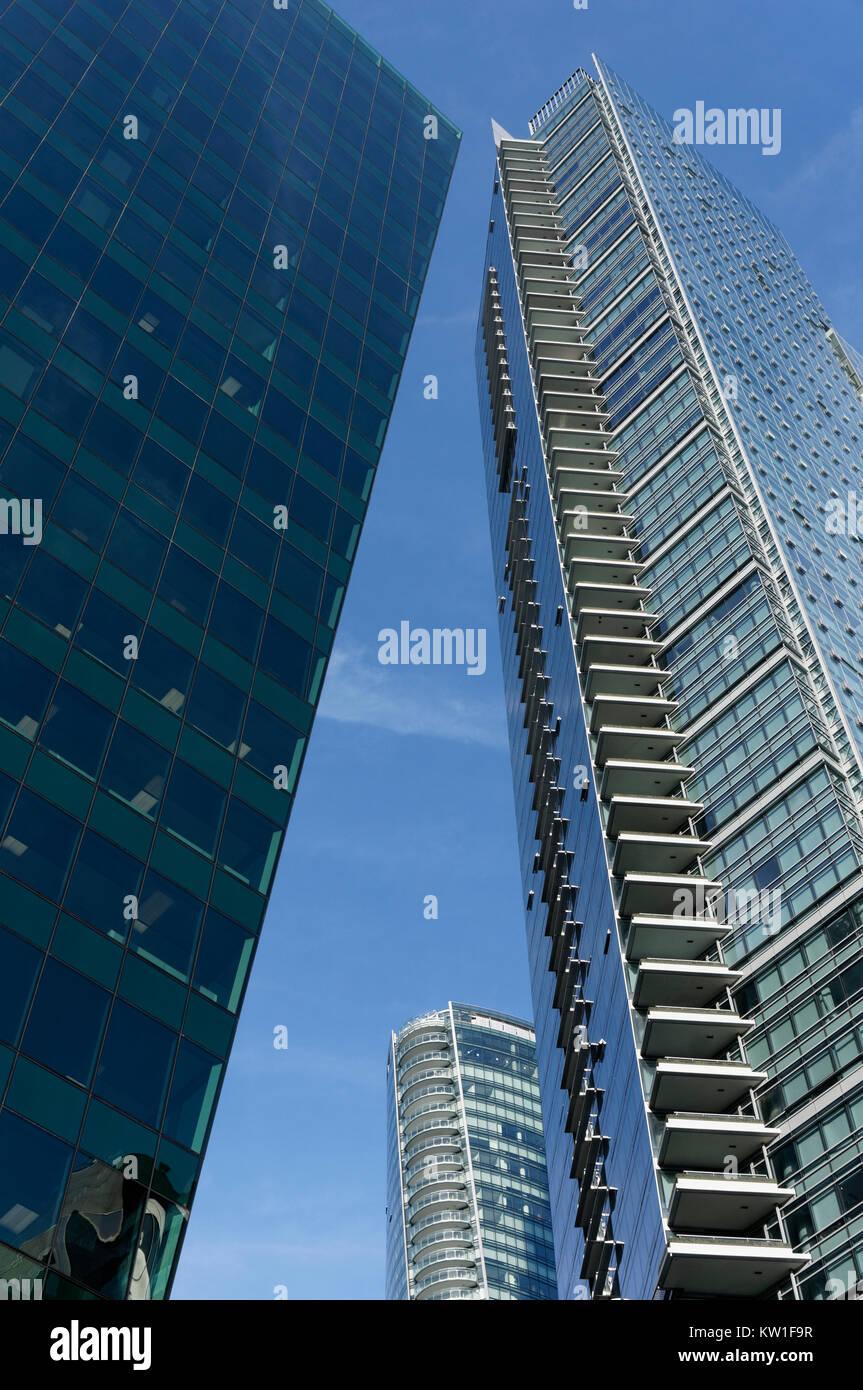 Glas und Stahl Wolkenkratzer in der Innenstadt von Vancouver, BC, Kanada Stockbild