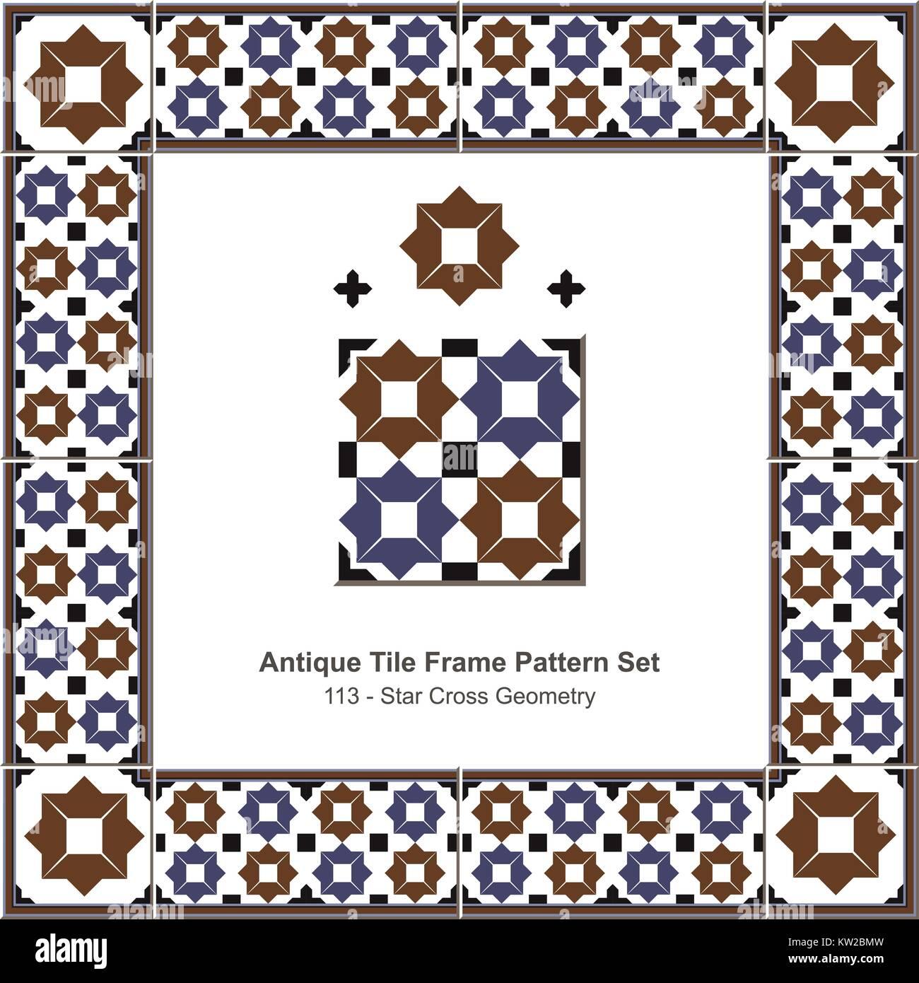 Alte Fliesen Frame Pattern Islamischen Braun Blau Star Cross Geometrie
