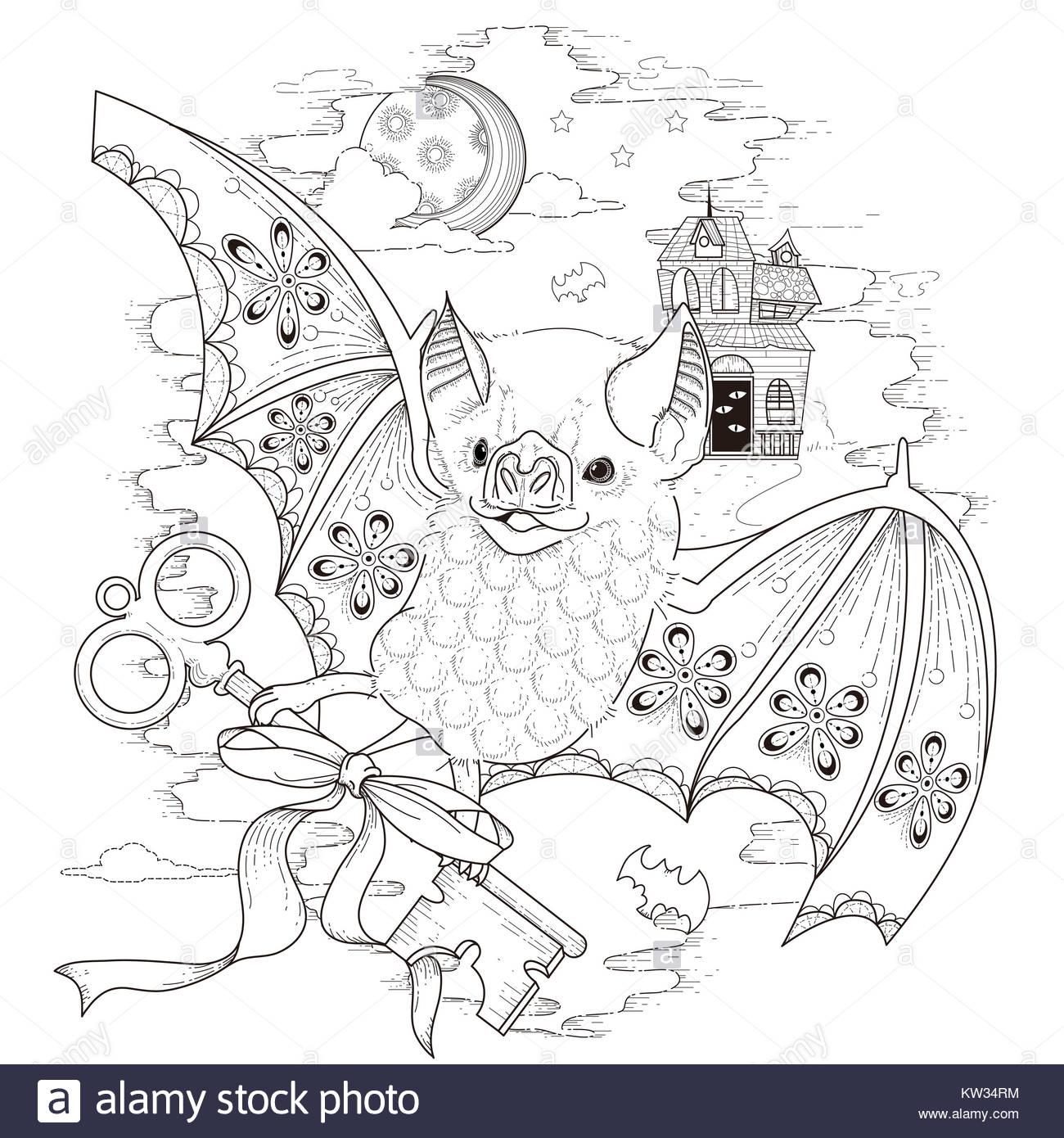 schöne Fledermaus Malvorlagen in exquisitem Stil Stockfoto, Bild ...