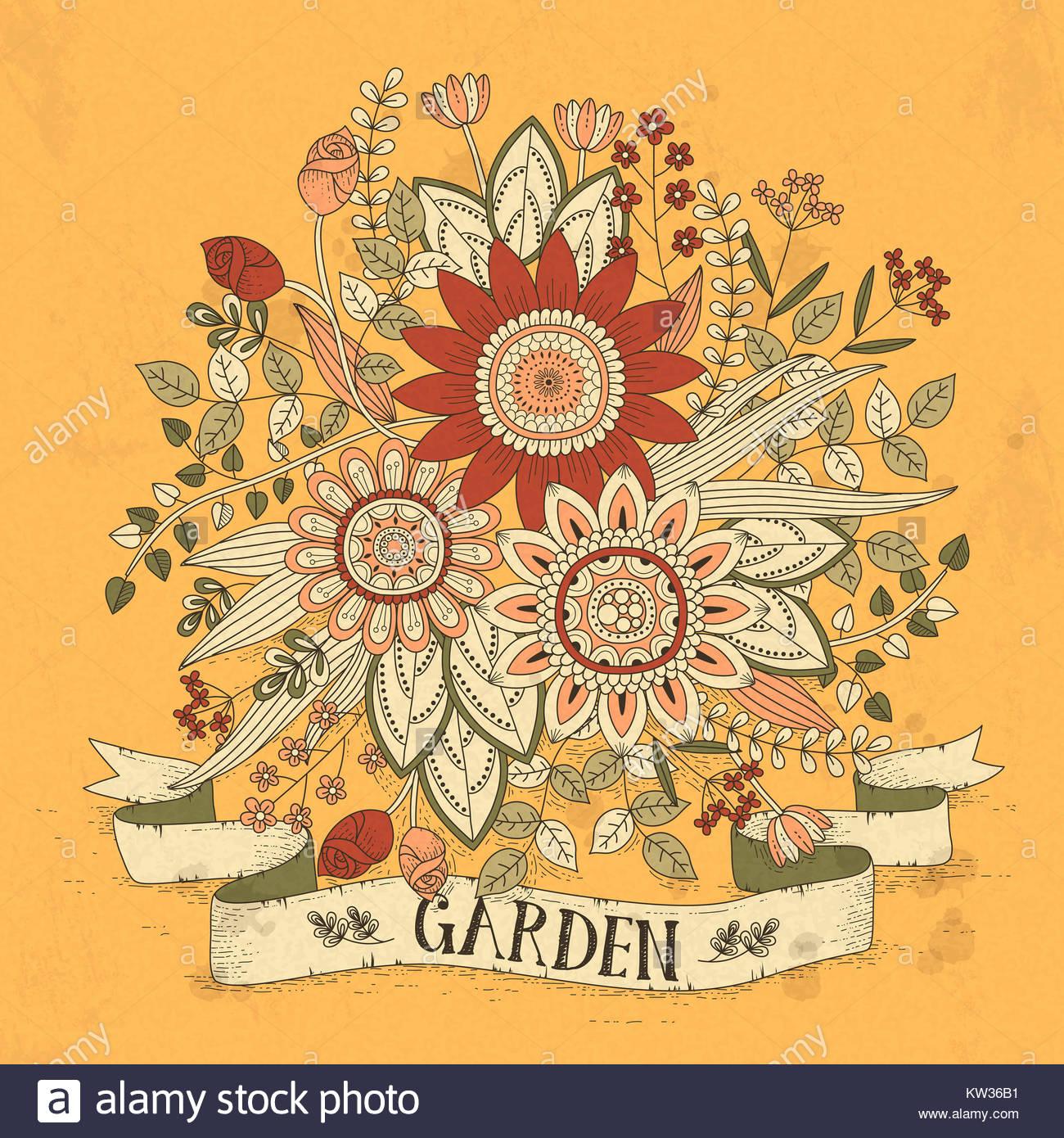herrliche Blumen Malvorlagen in exquisitem Stil Stockfoto, Bild ...