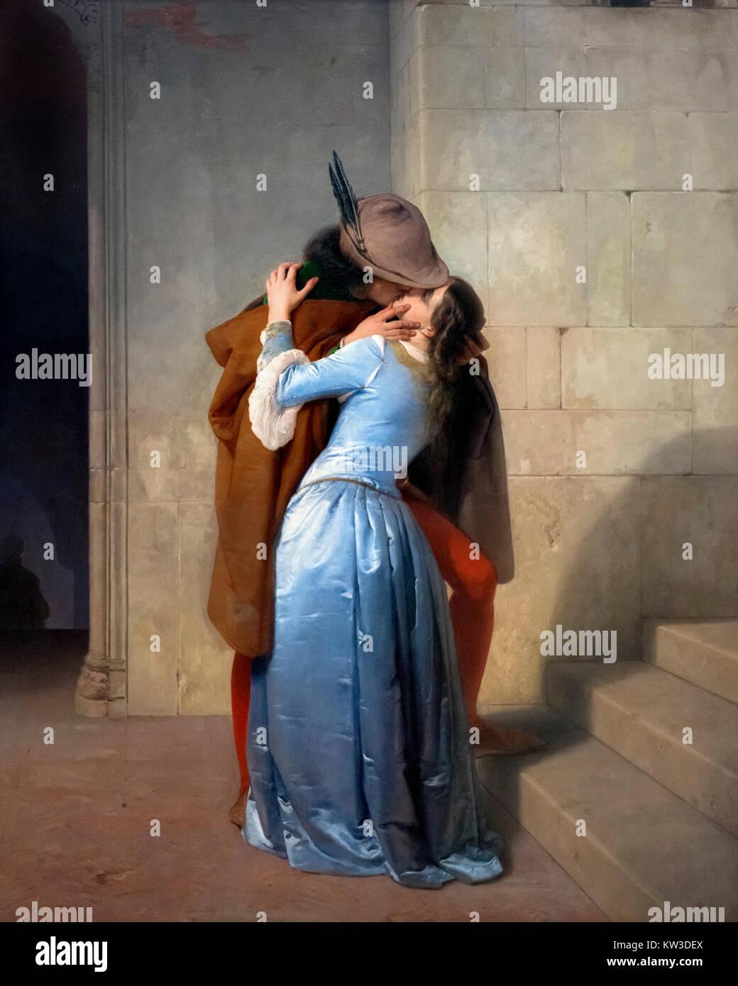 Der Kuss (Il Bacio) von Francesco Hayez (1791-1882), Öl auf Leinwand, 1859 Stockbild