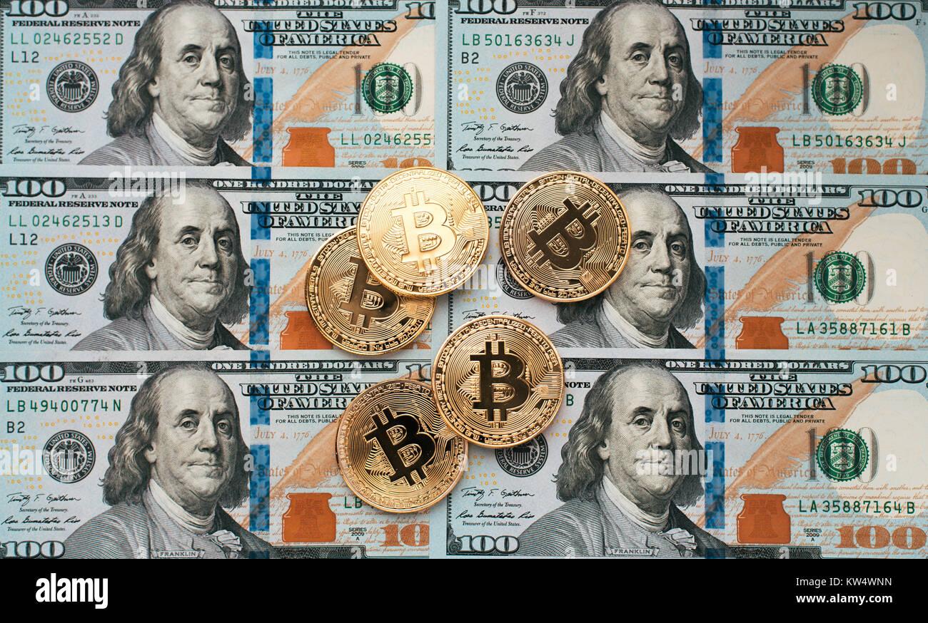 Münzen Bitcoin Es Gibt Geld In Der Tabelle Einen Hinweis Von 100