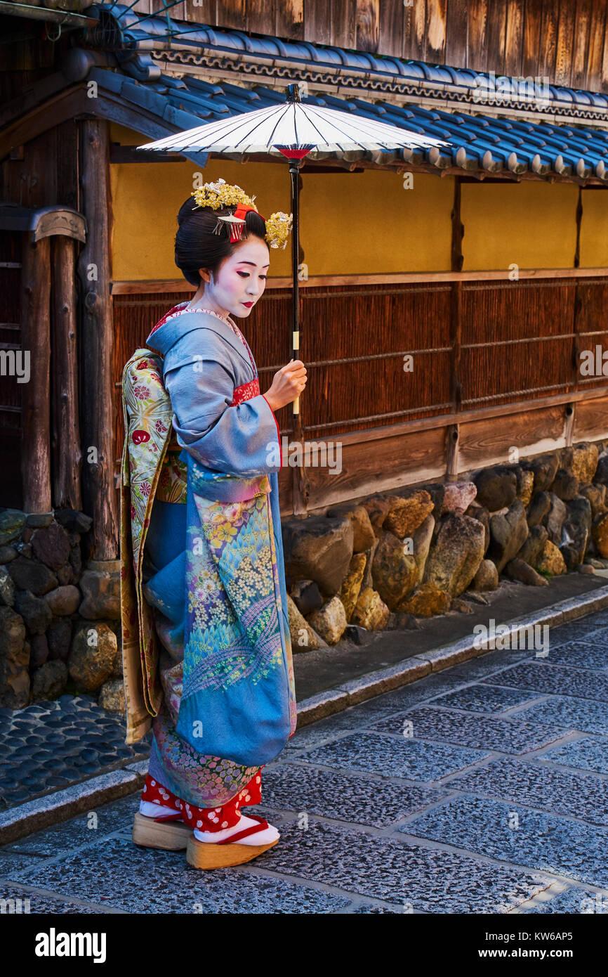 Japan, Honshu Island, Region Kansai, Kyoto, Gion, Geisha Bereich Stockbild