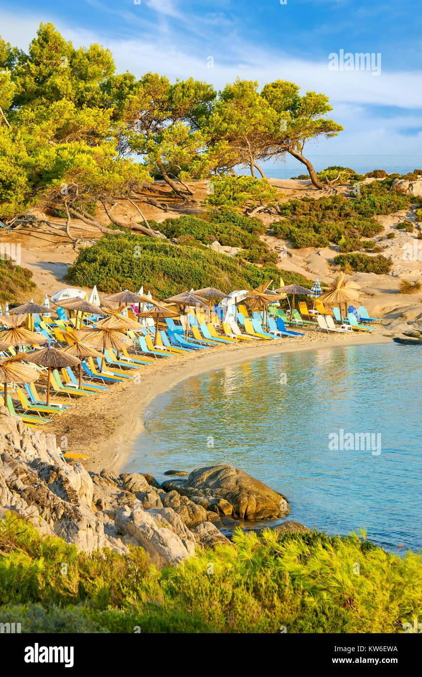 Orange Beach, Chalkidiki oder Chalkidiki, Griechenland Stockbild
