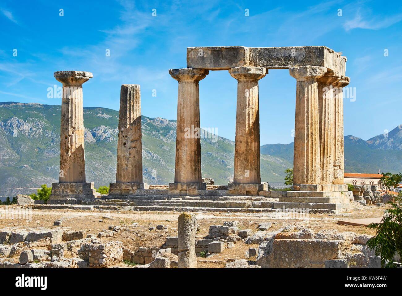 Der Tempel des Apollo, das antike Korinth, Griechenland Stockbild