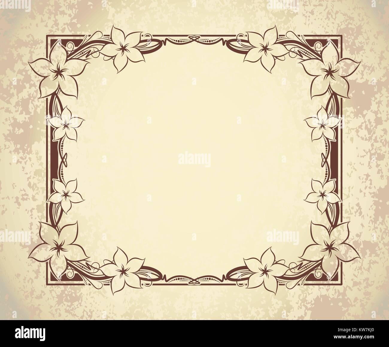 Alte Rahmen im Alter von Papier mit Blumen und leeren Raum für Text ...