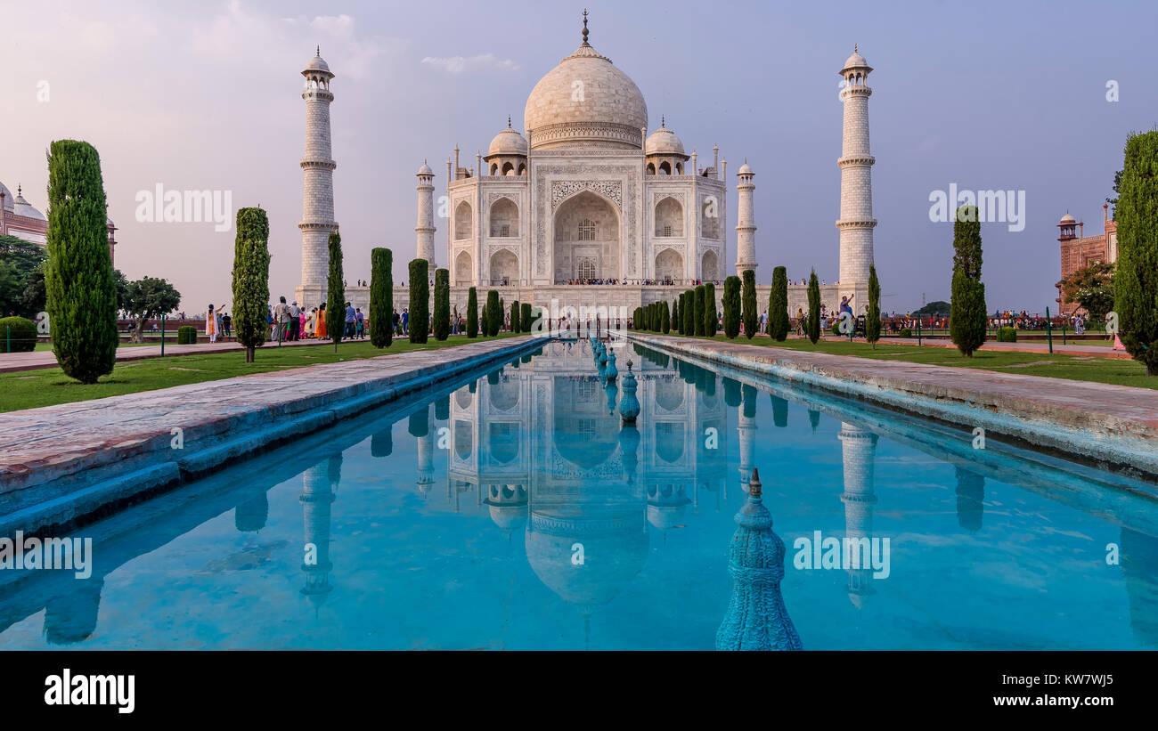 Am späten Nachmittag Licht auf Taj Mahal, Agra, Uttar Pradesh, Indien Stockbild