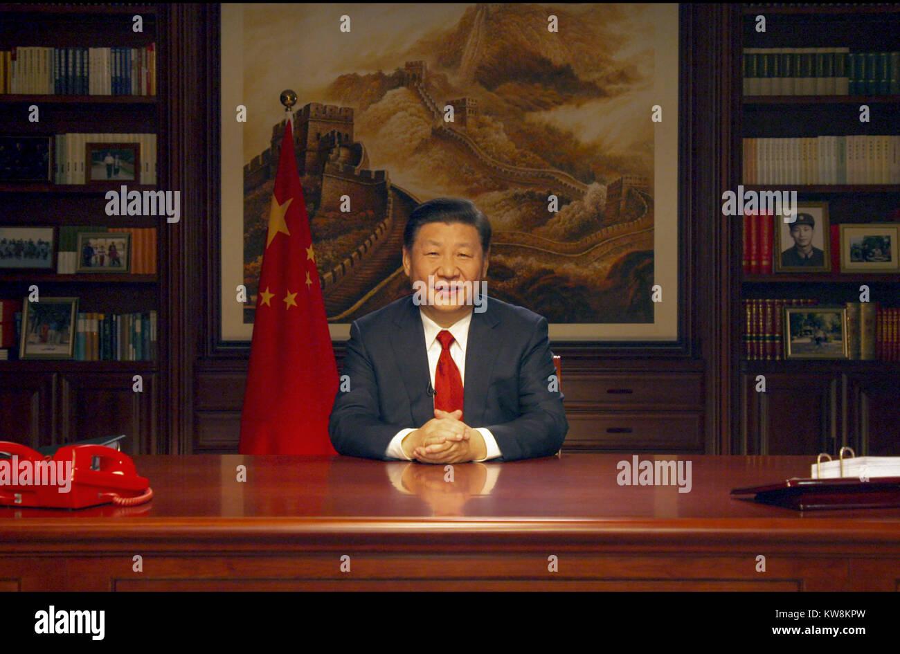 Peking, China. 31 Dez, 2017. Der chinesische Präsident Xi Jinping ...