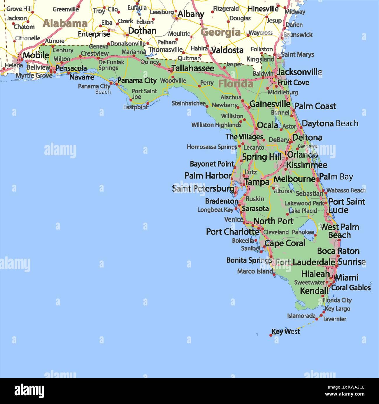 Karte Von Florida Zeigt Die Landergrenzen Stadtischen Gebieten