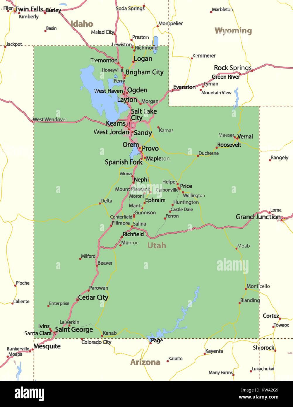 Utah Map Stockfotos & Utah Map Bilder - Alamy