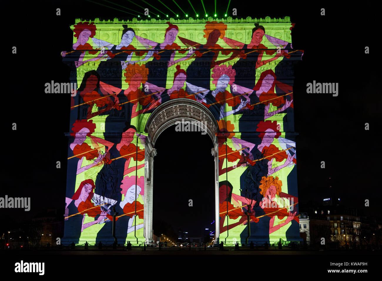 Paris, Frankreich. 31 Dez, 2017. Das Video Show auf der Triumphbogen für das neue Jahr voraussichtlich am 31. Stockbild
