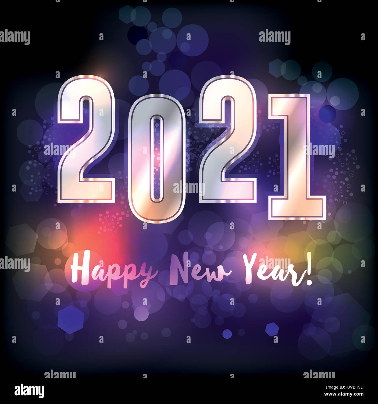 Ein frohes neues Jahr 2021 das Neue Jahr Nachricht Abbildung. Vector ...