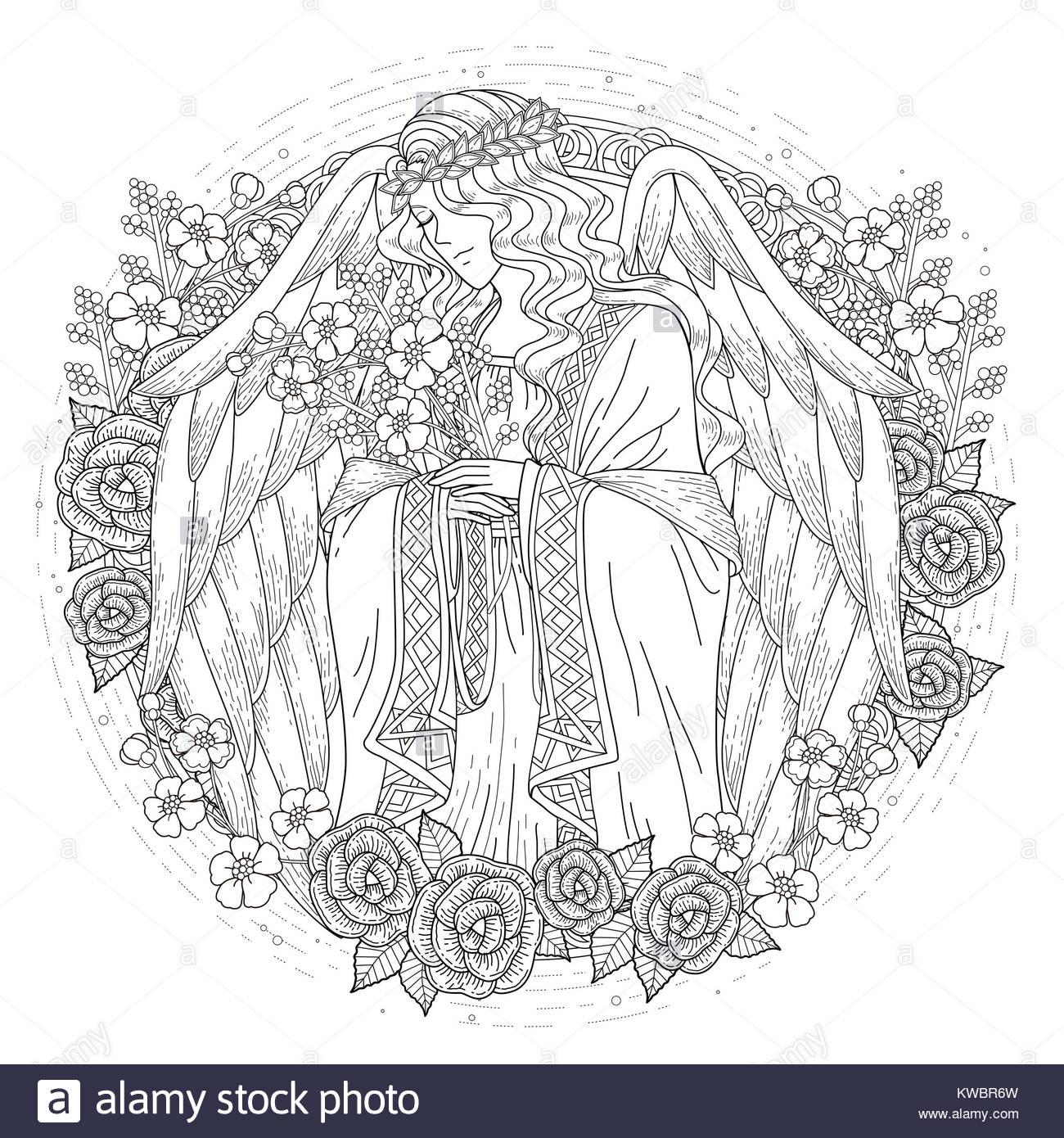 anmutigen Engel Malvorlagen mit floralen Elementen in exquisiten ...