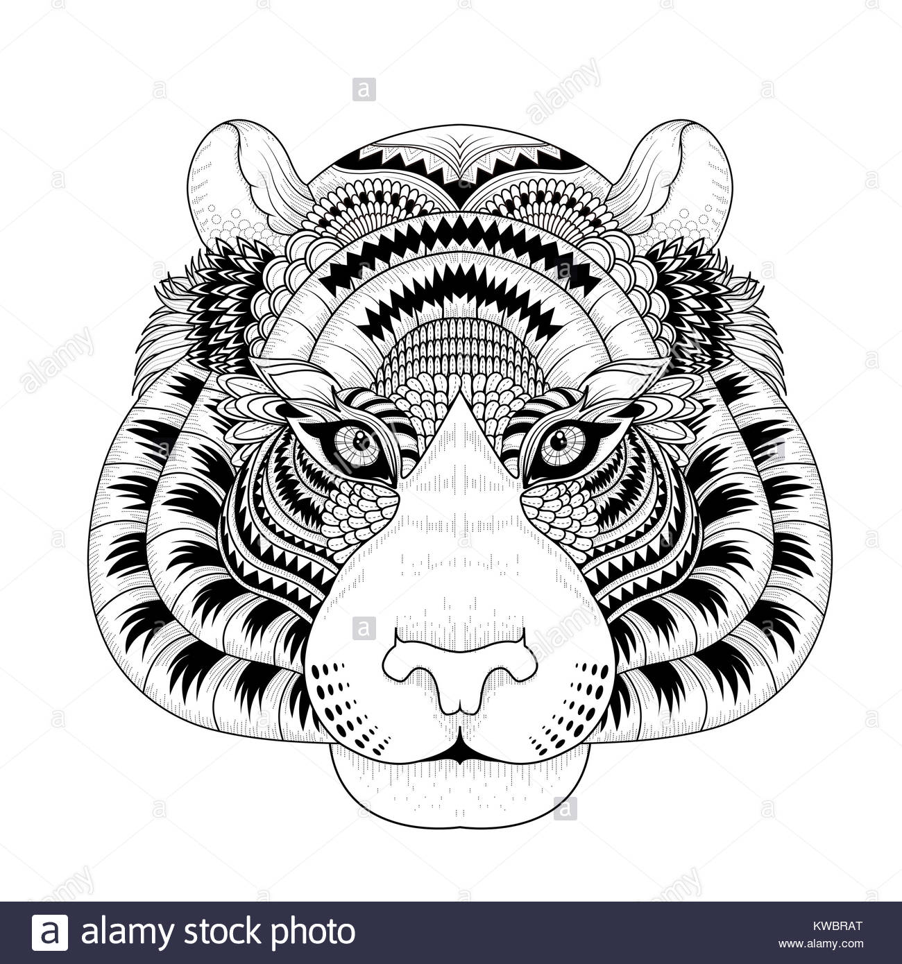 Outline Tiger Head Animal Vector Stockfotos & Outline Tiger Head ...